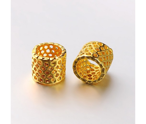 9mm Cutout Tube Beads, Gold Tone