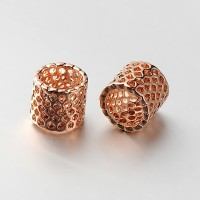9mm Cutout Tube Beads, Rose Gold Tone