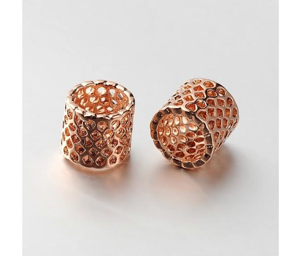 9mm Cutout Tube Beads, Rose Gold Tone