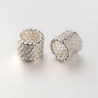 9mm Cutout Tube Beads, Silver Tone