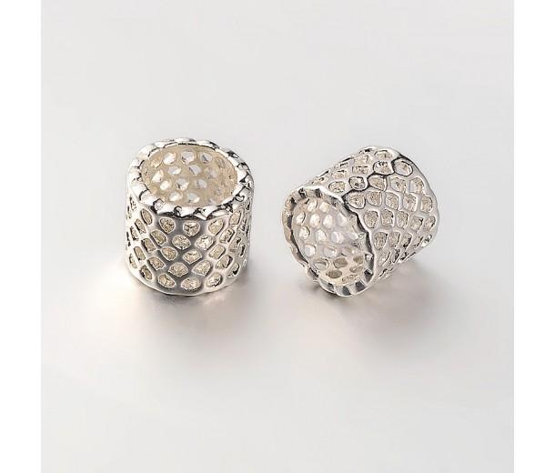 9mm Cutout Tube Beads, Silver Tone