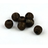 6mm Premium Corrugated Round Beads, Antique Brass