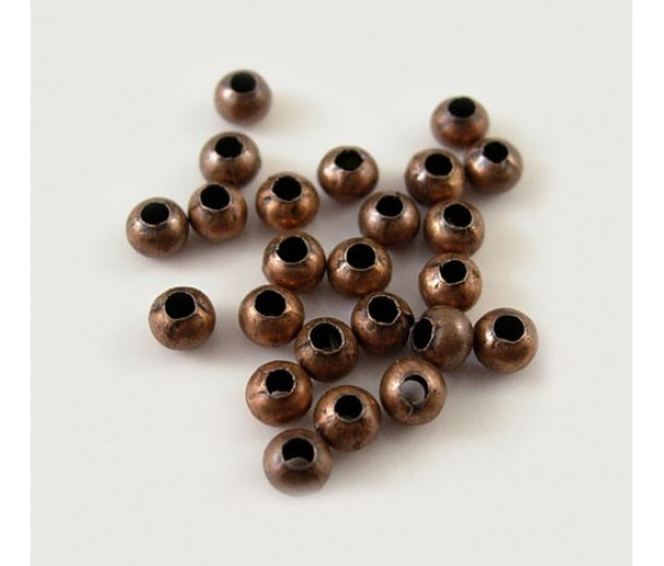 3mm Seamed Round Beads, Antique Copper