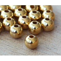 7mm Smooth Round Beads, Gold Plated, Pack of 20