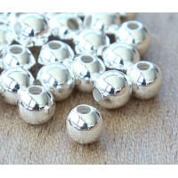 7mm Smooth Round Beads, Silver Plated