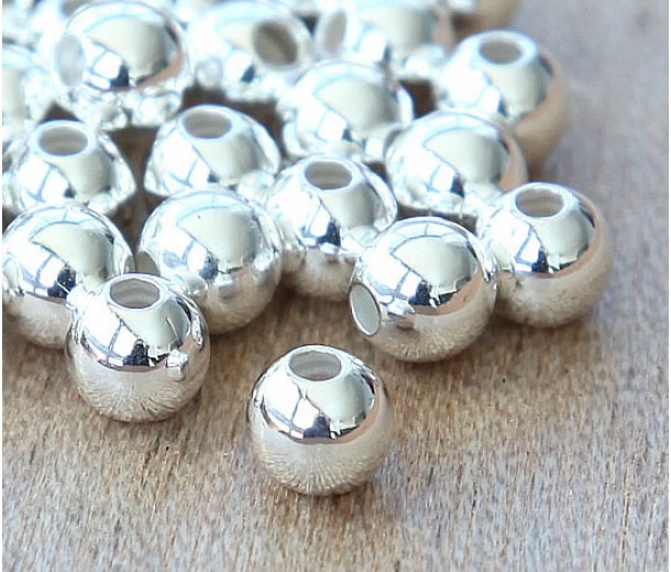 7mm Smooth Round Beads, Silver Plated, Pack of 20