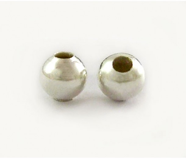 8mm Smooth Round Beads, Silver Plated