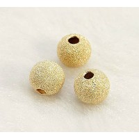 6mm Round Premium Stardust Beads, Gold Plated