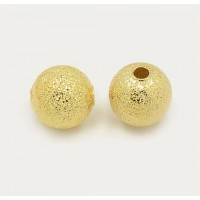 8mm Round Premium Stardust Beads, Gold Plated