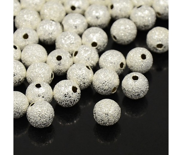 4mm Round Premium Stardust Beads, Silver Plated
