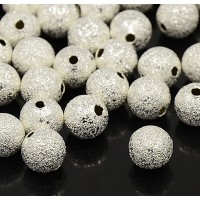 6mm Round Premium Stardust Beads, Silver Plated