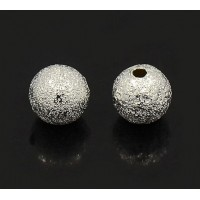 8mm Round Premium Stardust Beads, Silver Plated