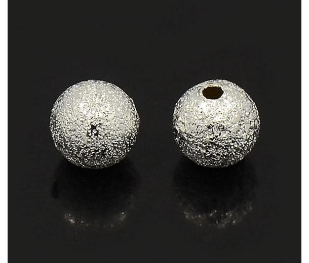 8mm Round Premium Stardust Beads, Silver Plated, Pack of 20