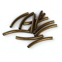 25mm Curved Tube Beads, 1.5mm Hole,  Antique Brass