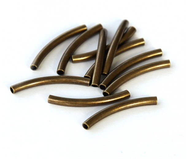 25mm Curved Tube Beads, 1.5mm Hole,  Antique Brass, Pack of 10