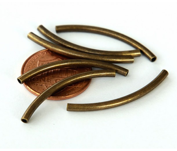 30mm Curved Tube Beads, 1.2mm Hole, Antique Brass, Pack of 10