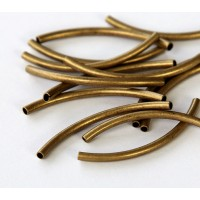 40mm Curved Tube Beads, Antique Brass