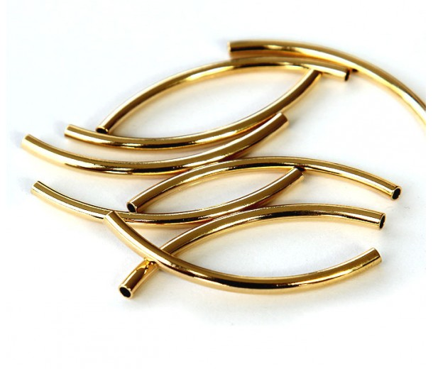 40mm Curved Tube Beads, 1.5mm Hole, Gold Plated, Pack of 10