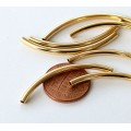 40mm Curved Tube Beads, 1.5mm Hole, Gold Plated