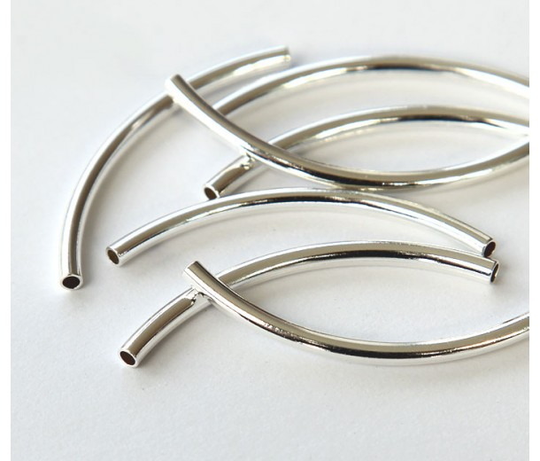40mm Curved Tube Beads, 1.5mm Hole, Silver Plated