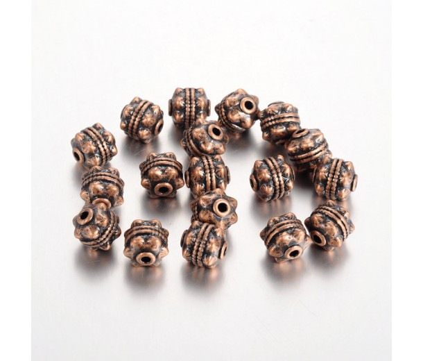 10mm Studded Round Beads, Antique Copper, Pack of 10