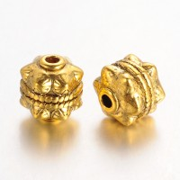10mm Studded Round Beads, Antique Gold