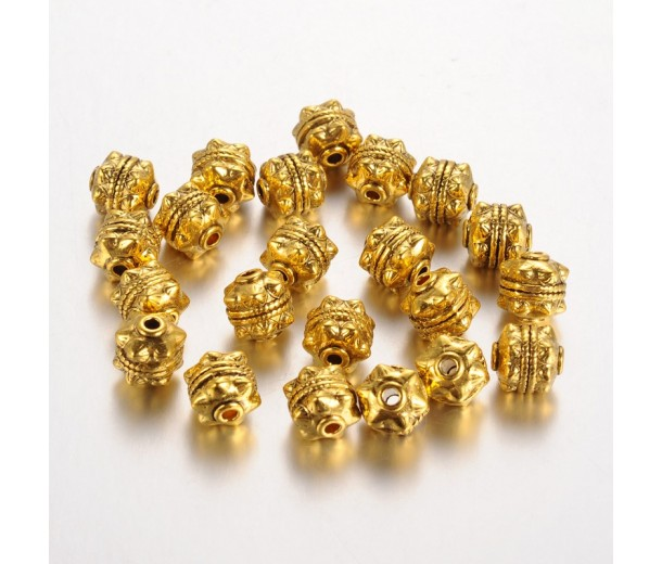 10mm Studded Round Beads, Antique Gold, Pack of 10