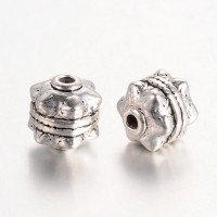 10mm Studded Round Beads, Antique Silver, Pack of 10