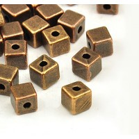 4mm Simple Cube Beads, Antique Copper