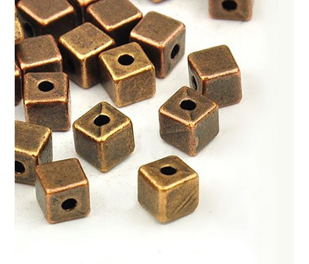 4mm Simple Cube Beads, Antique Copper, Pack of 50
