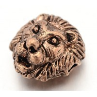 12mm Lion Head Focal Beads, Antique Copper, Pack of 5