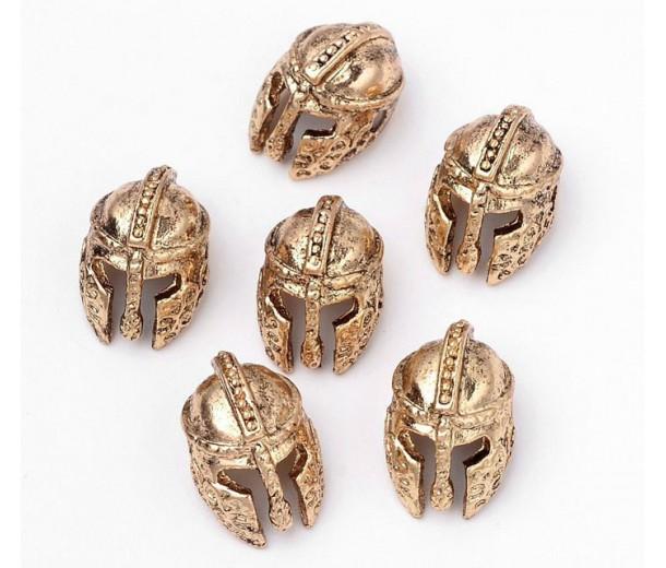 14mm Ancient Greek Helmet Focal Beads, Antique Gold, 1 Piece