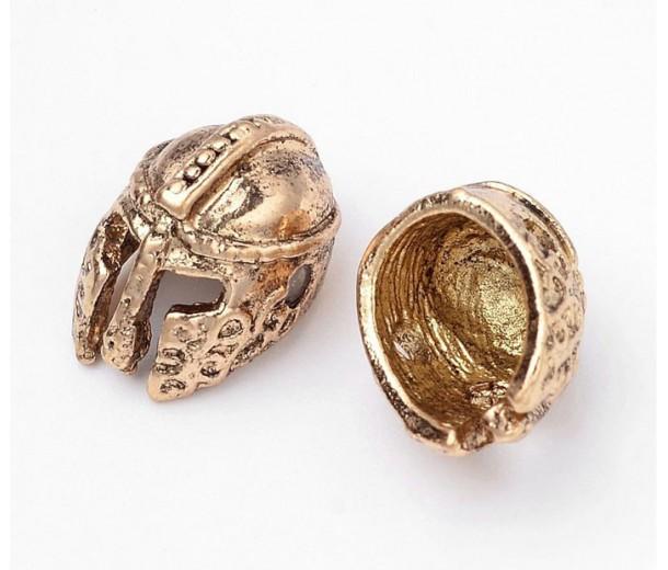 14mm Ancient Greek Helmet Focal Bead, Antique Gold