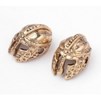 14mm Ancient Greek Helmet Focal Beads, Antique Gold