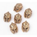 14mm Ancient Greek Helmet Focal Beads, Antique Gold, 1 Piece