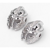 14mm Ancient Greek Helmet Focal Beads, Rhodium Plated