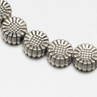 6mm Flat Round Flower Beads, Antique Silver