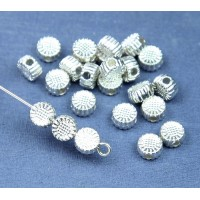 6mm Flat Round Flower Beads, Silver Tone, Pack of 20
