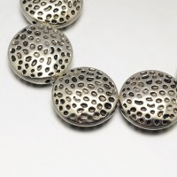 17mm Flat Round Textured Beads, Antique Silver, 8 Inch Strand