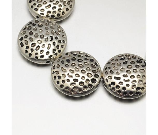 17mm Flat Round Textured Beads, Antique Silver