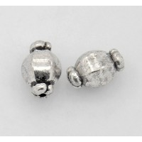 10mm Lantern Beads, Antique Silver