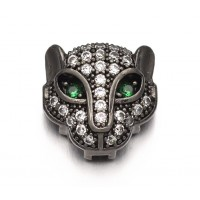 11mm Panther Head Cubic Zirconia Focal Bead, Black Finish, 1 Piece