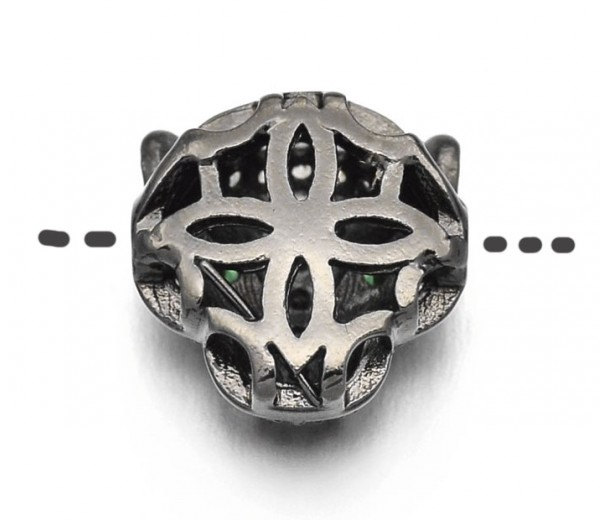 11mm Leopard Head Focal Beads, Gunmetal, Pack of 5