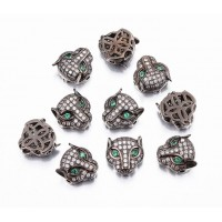 11mm Panther Head Cubic Zirconia Focal Bead, Black Finish