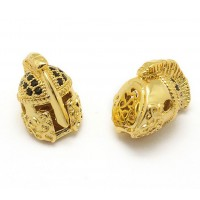 15mm Greek Helmet Cubic Zirconia Focal Beads, Gold Plated