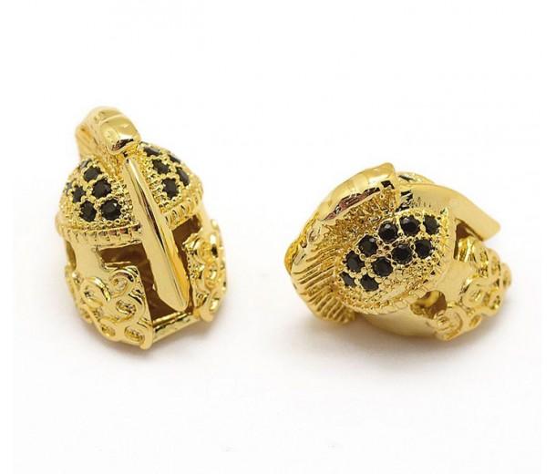 15mm Greek Helmet Cubic Zirconia Focal Beads, Gold Plated