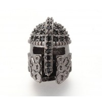 15mm Greek Helmet Cubic Zirconia Focal Beads, Gunmetal, 1 Piece