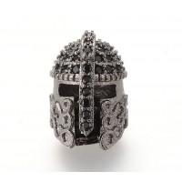 15mm Greek Helmet Cubic Zirconia Focal Beads, Gunmetal