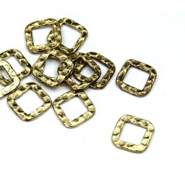 10x10mm Hammered Square Links, Antique Gold