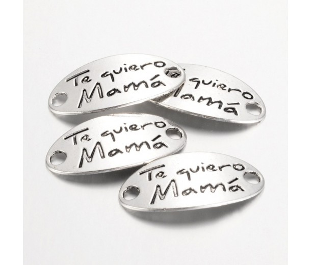 38x19mm Word Oval Link, Te Quiero Mama, Antique Silver, 1 Piece